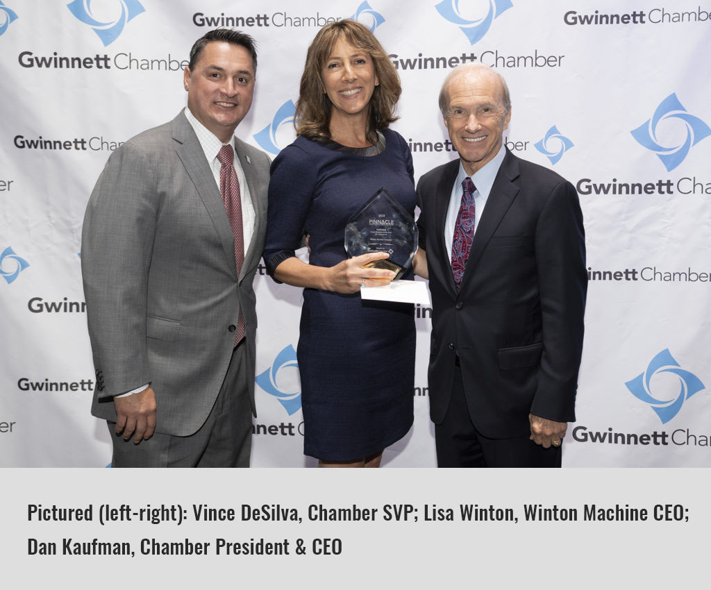 Pinnacle Awards 2018: Pictured: Vince DeSilva, Chamber SVP; Lisa Winton, Winton Machine CEO; Dan Kaufman, Chamber President & CEO